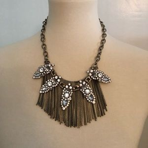 Crystal and chain statement necklace